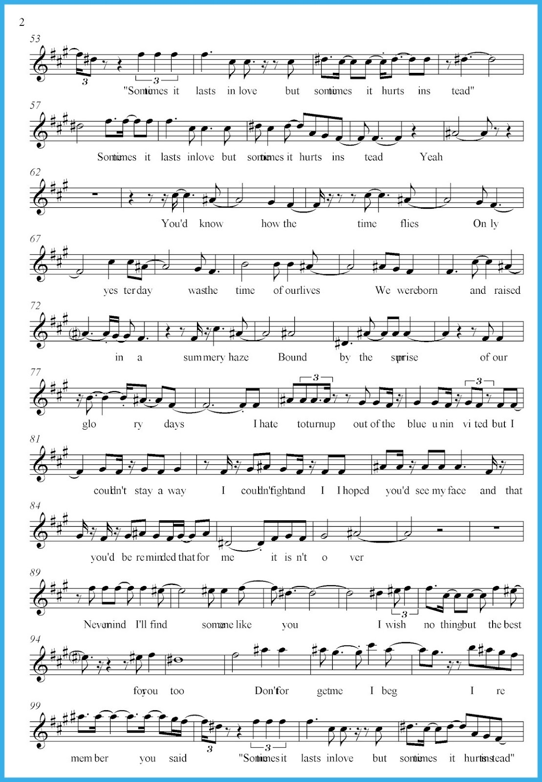 Wolddotk - Free Printable Sheet Music Adele Someone Like You