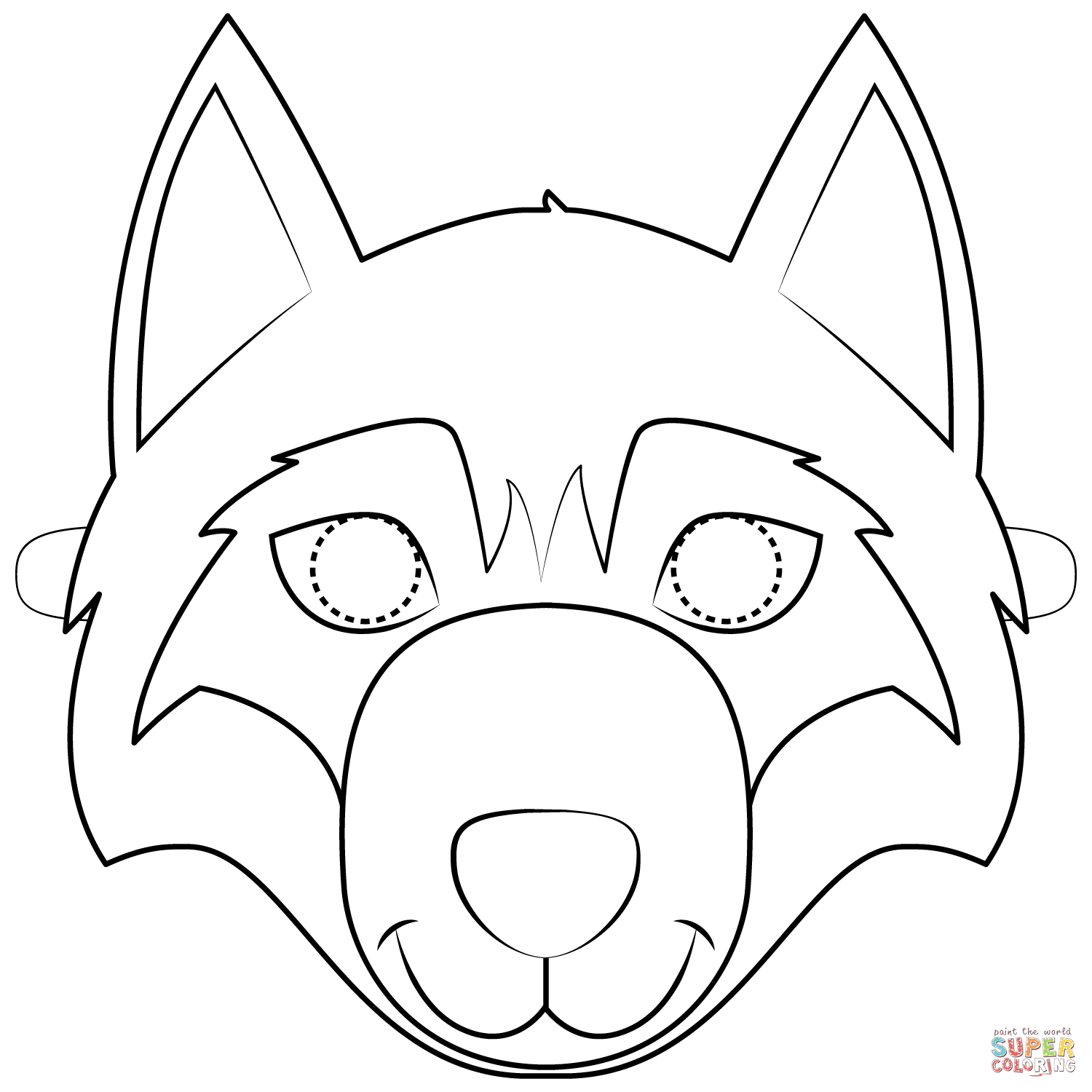 Wolf Mask Coloring Page | Free Printable Coloring Pages - Free Printable Wolf Mask