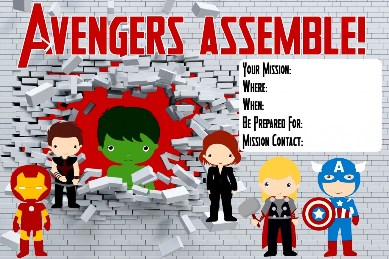Wonderful Of Marvel Birthday Party Invitations Custom Epic Avengers - Avengers Party Invitations Printable Free