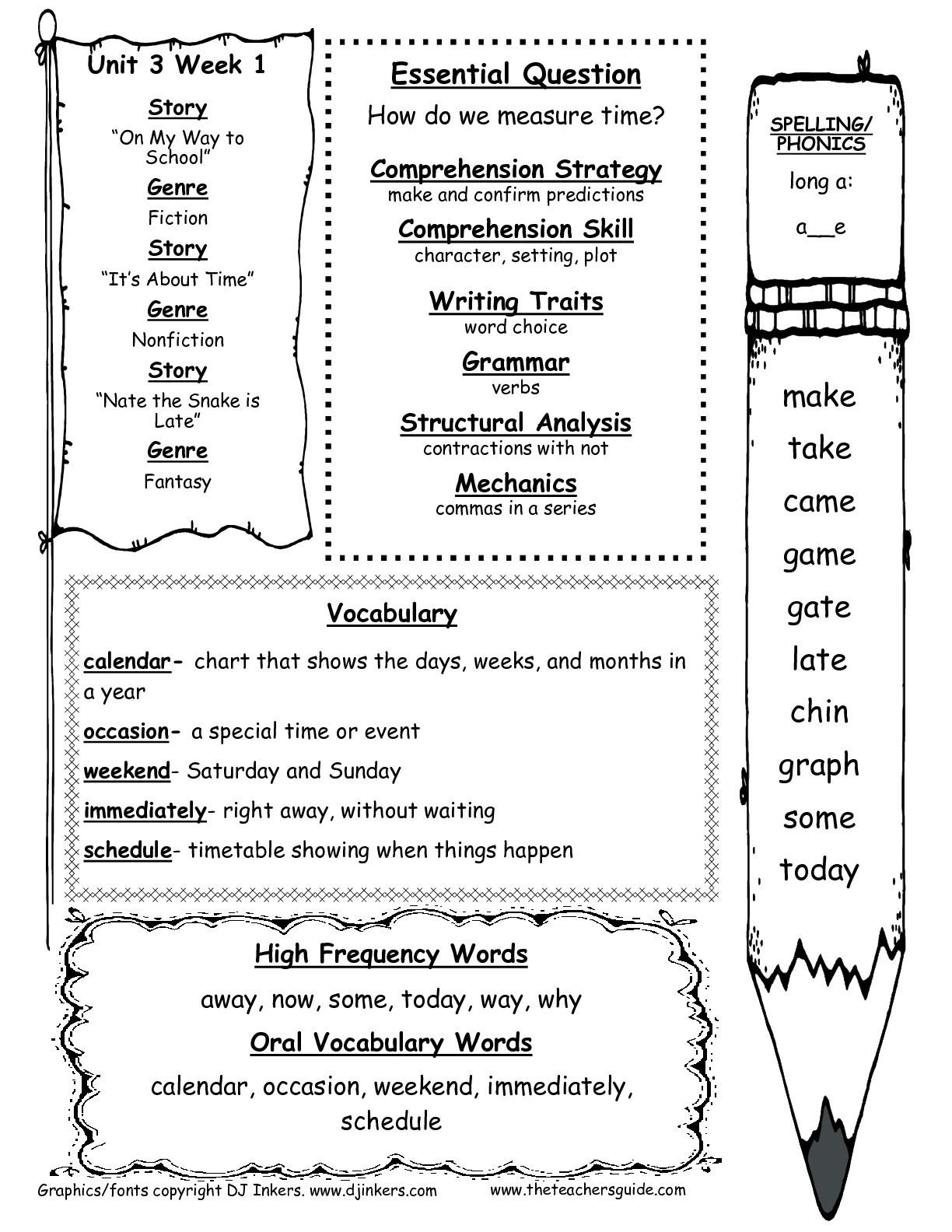 Wonders First Grade Unit Three Week One Printouts - Free Printable First Grade Worksheets
