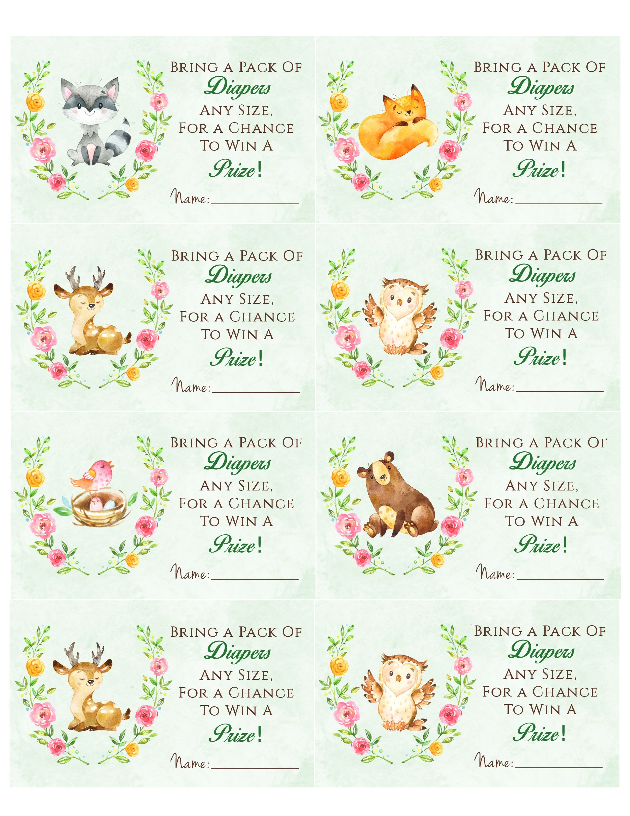 Woodland Animal Baby Shower Diaper Raffle. Free Printable | Birthday - Free Printable Baby Shower Diaper Raffle Tickets