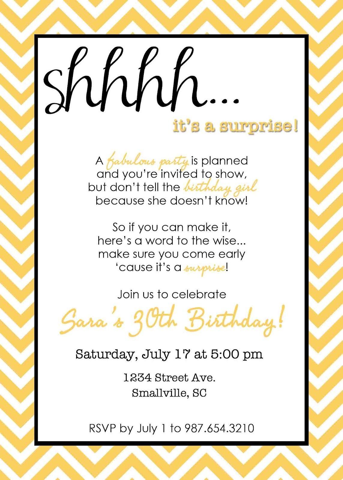 Wording For Surprise Birthday Party | Free Printable Birthday - Free Printable Surprise Party Invitations