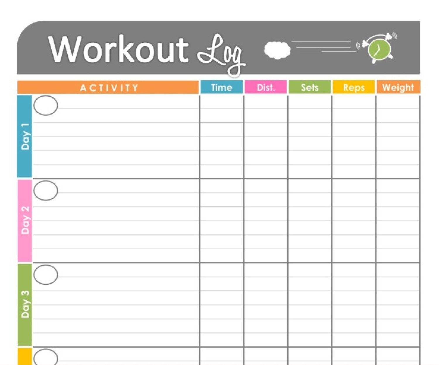 Workout Log Exercise Log Printable Forfreshandorganized, $3.50 - Free Printable Walking Log