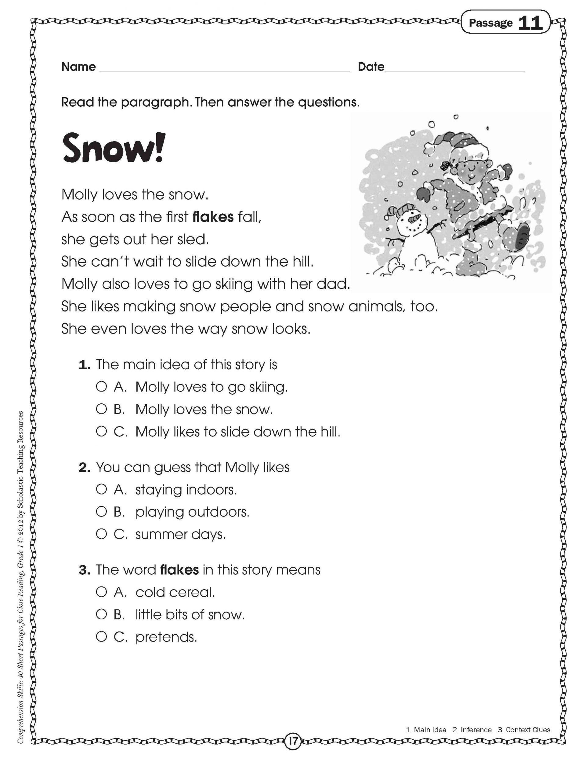 Worksheet: Kindergarten English Worksheets Free 4Th Grade - Free Printable Stories For 4Th Graders