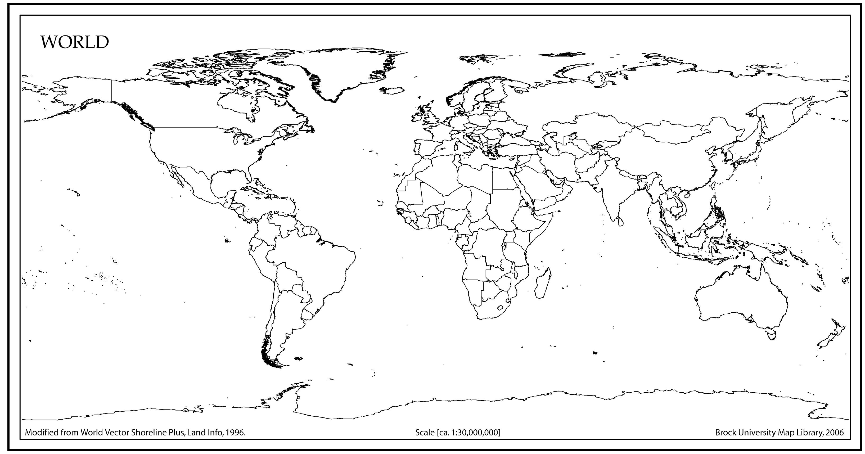 World Map Outline With Countries | World Map | World Map Outline - Free Printable Blank World Map Download