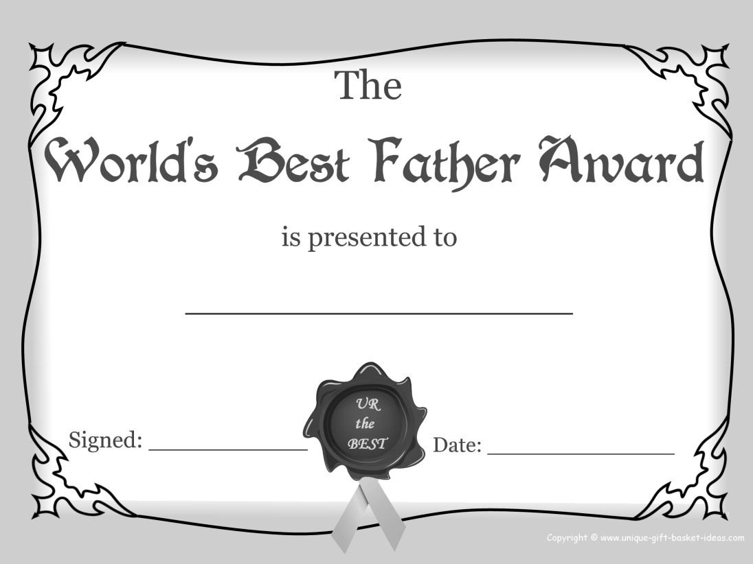 Worlds+Greasest+Dad+Certificate+Award+Images+White+And+Black | Free - Free Printable Best Daughter Certificate