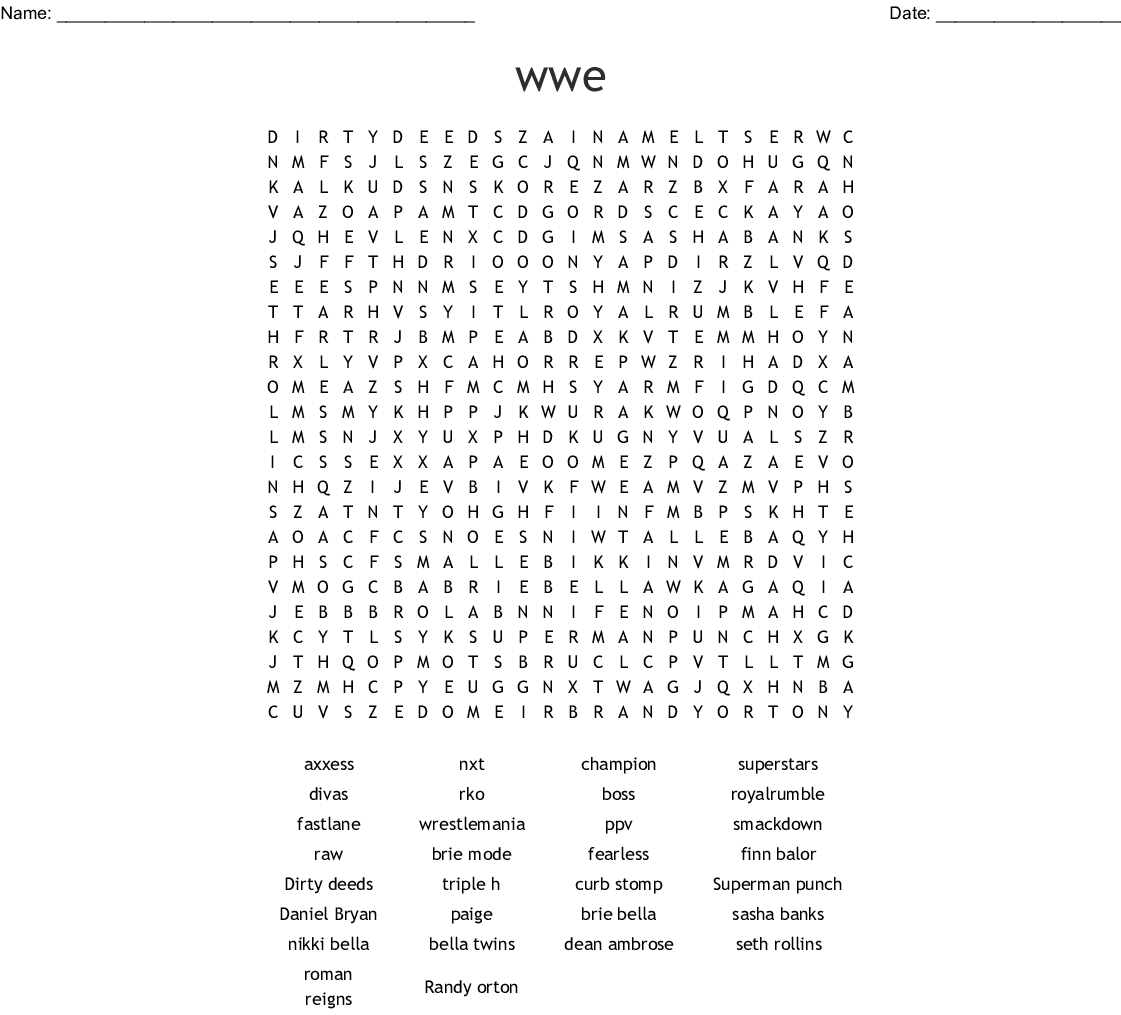 Wwe Superstars Word Search - Wordmint - Free Printable Wwe Word Search
