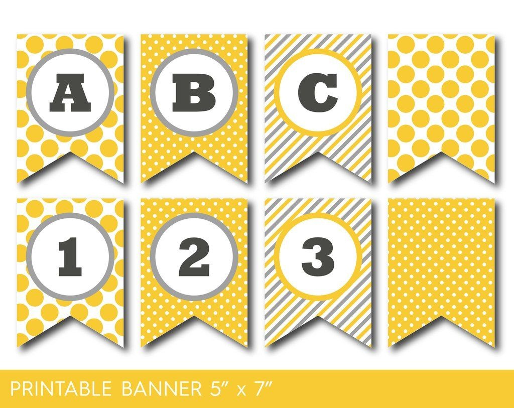 Yellow And Grey Banner, Party Banner, Birthday Banner, Baby Shower - Free Printable Baby Shower Banner Letters