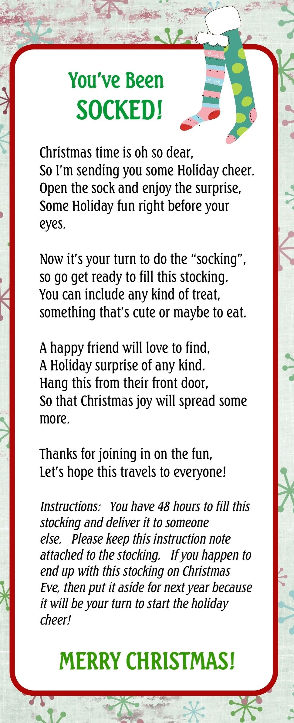 You've Been Socked! The 7Th Whimsical Day Of Pinterest. | Christmas - You Ve Been Socked Free Printable