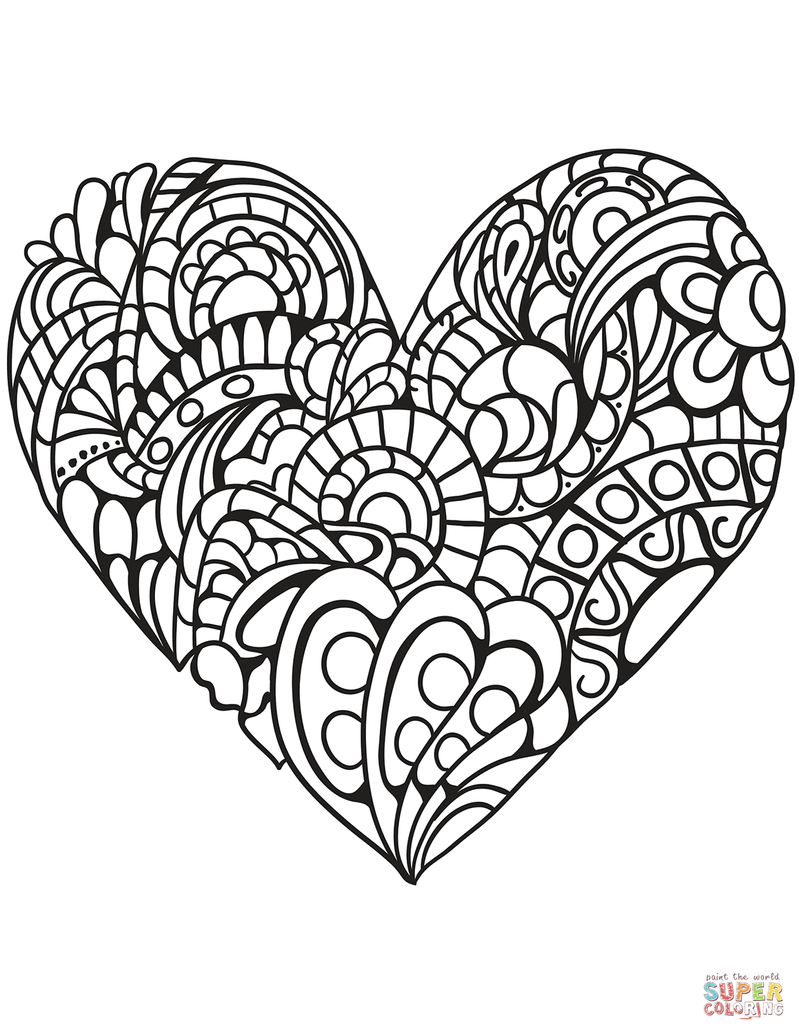 Zentangle Heart Coloring Page | Free Printable Coloring Pages - Free Printable Heart Coloring Pages