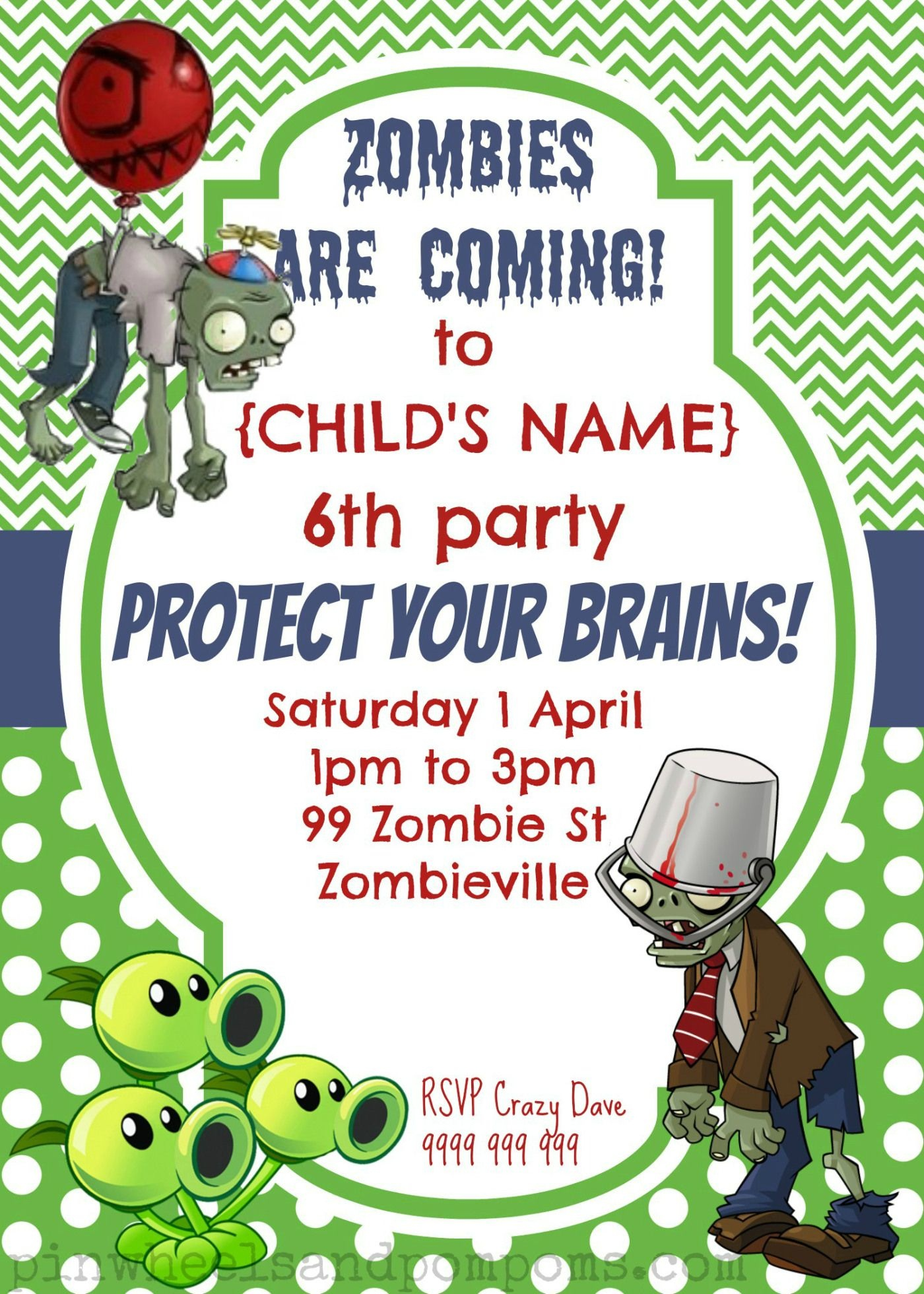 Zombie Invite Sample | Plants Vs Zombies Party Ideas | Zombie - Plants Vs Zombies Free Printable Invitations